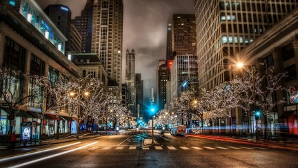Street Decorated for Christmas - HD