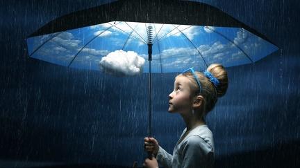 Nice weather under the umbrella