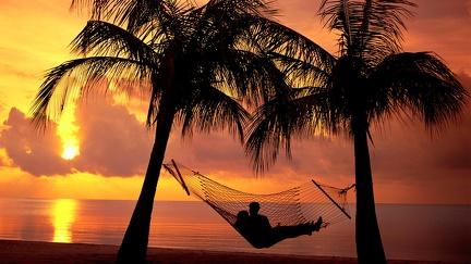 Couple hammock - sunset beach