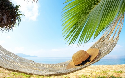 Beach - hammock - straw hat