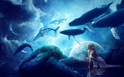 Dream blue - whales - creation