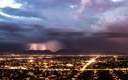 Thunderstorms on the city