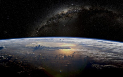 Horizon of the earth in space