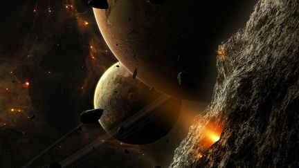 View from asteroid - graphic design