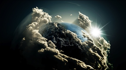 Planet with Huge Clouds - Graphic Design