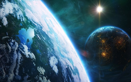 Fantastic Wallpapers - Space - The 2 planets